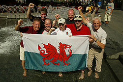 Belgrade, Serbia & Montenegro - Monday, August 18, 2003: Wales' fans cool off in the fountains in Belgrade. (Pic by: David Rawcliffe/Propaganda)
