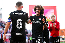 Josh Brownhill and Han-Noah Massengo of Bristol City after Bristol City win 1-2 - Rogan/JMP - 14/09/2019 - Bet365 Stadium - Stoke, England - Stoke City v Bristol City - Sky Bet Championship.