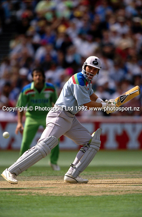 Martin Crowe bats during the cricket World Cup match between New Zealand and Pakistan, 1992. Photo: Andrew Cornaga/PHOTOSPORT