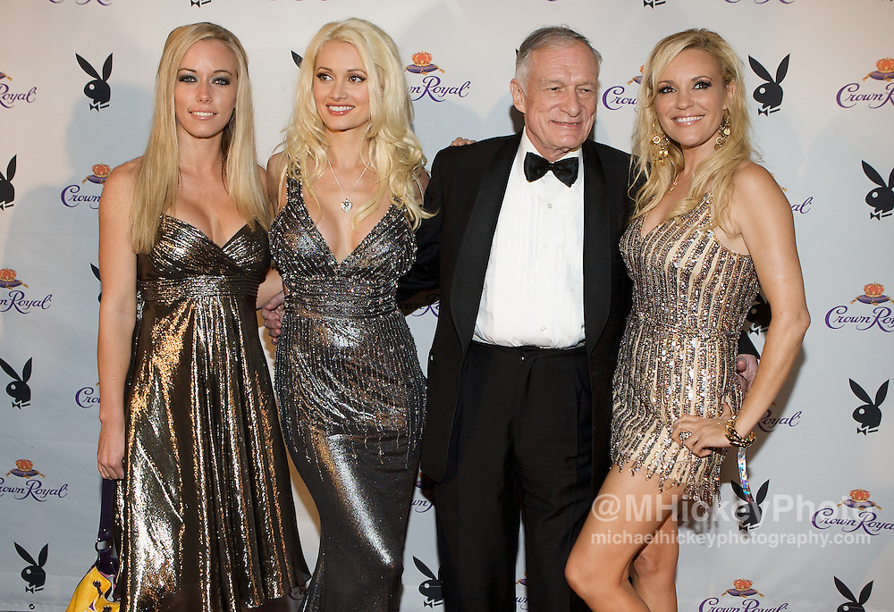 Kendra Wilkinson Holly Madison Hugh Hefner and Bridget Marquardt appear at the Playboy Crown Royal Purple Carpet Party in Louisville, KY. Photo by Michael Hickey