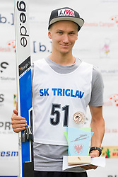 Third placed Stefan Huber from Austria during flower ceremony after Ski Jumping Continental Cup Kranj 2018, on July 8, 2018 in Kranj, Slovenia. Photo by Urban Urbanc / Sportida