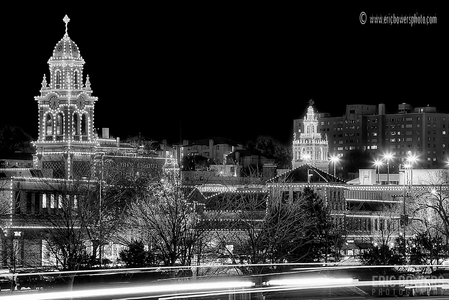 Nighttime photo of Plaza Lights, Kansas City, Missouri.