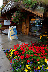 Visitor Information Center with flowers and sod roof, Anchorage, Alaska, United States of America