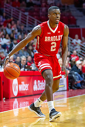 NORMAL, IL - February 16:  LuQman Lundy during a college basketball game between the ISU Redbirds and the Bradley Braves on February 16 2019 at Redbird Arena in Normal, IL. (Photo by Alan Look)