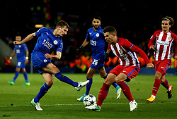 Ben Chilwell of Leicester City shoots at goal - Mandatory by-line: Robbie Stephenson/JMP - 18/04/2017 - FOOTBALL - King Power Stadium - Leicester, England - Leicester City v Atletico Madrid - UEFA Champions League Quarter-Final Second Leg