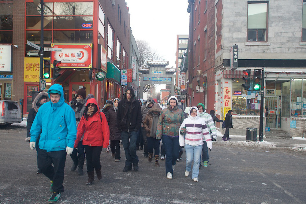 Students from Henri-Bourassa High School in Montreal, Canada take a historical tour of Chinatown with guides invited by Fusion Jeunesse / Youth Fusion staff on Friday, January 29th, 2010.