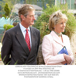 LORD & LADY TOLLEMACHE at the Chelsea Flower Show in London on 20th May 2002.	PAD 149