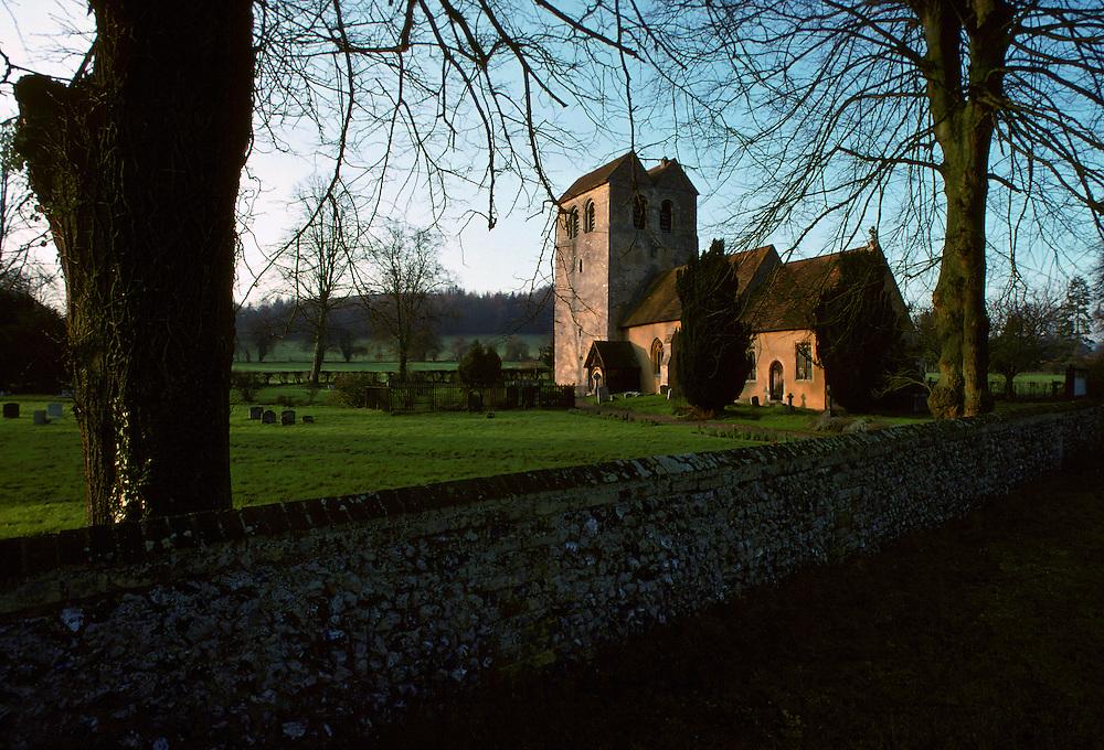 St Bartholomew Church, 12th Century Norman tower, Fingest, Buckinghamshire, United Kingdom