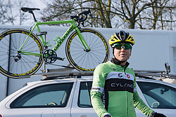 Shelley Olds waits for for Cylance to be called to sign in - 2016 Omloop het Nieuwsblad - Elite Women, a 124km road race from Vlaams Wielercentrum Eddy Merckx to Ghent on February 27, 2016 in East Flanders, Belgium.