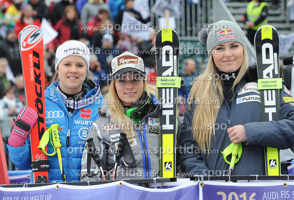 07.02.2016, Kandahar, Garmisch Partenkirchen, GER, FIS Weltcup Ski Alpin, Garmisch Partenkirchen, Super G, Damen, im Bild Viktoria Rebensburg (GER 2.Platz)Lara Gut (SU 1.PlatzI)Lindsey Vonn (USA 3.Platz) // Viktoria Rebensburg of Germany second placeLara Gut of Switzerland winnerViktoria Rebensburg of Germany second place reacts after her run of the ladies Super G of Garmisch FIS Ski Alpine World Cup at the Kandahar in Garmisch Partenkirchen, Germany on 2016/02/07. EXPA Pictures © 2016, PhotoCredit: EXPA/ Erich Spiess
