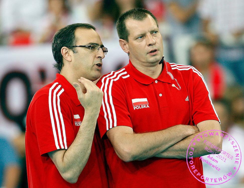LODZ 28/06/2008.VOLLEYBALL WORLD LEAGUE 2009.POLAND v BRAZIL.DANIEL CASTELLANI /L/ I KRZYSZTOF STELMACH /R/.FOT. PIOTR HAWALEJ / WROFOTO.