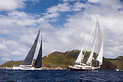 Luna and Visione sailing in the St. Barth's Bucket Regatta, day two.