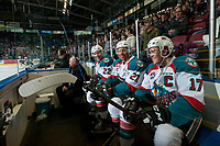 KELOWNA, CANADA - MARCH 7: Braydyn Chizen #22, Devante Stephens #21, and Rodney Southam #17 of the Kelowna Rockets sit in the penalty box against the Victoria Royals on March 7, 2017 at Prospera Place in Kelowna, British Columbia, Canada.  (Photo by Marissa Baecker/Shoot the Breeze)  *** Local Caption ***