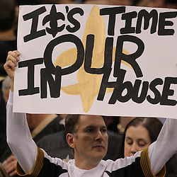 16 January 2010:  A New Orleans Saints fan holds up a sign during the first half of a 2010 NFC Divisional Playoff game against the Arizona Cardinals at the Louisiana Superdome in New Orleans, Louisiana.