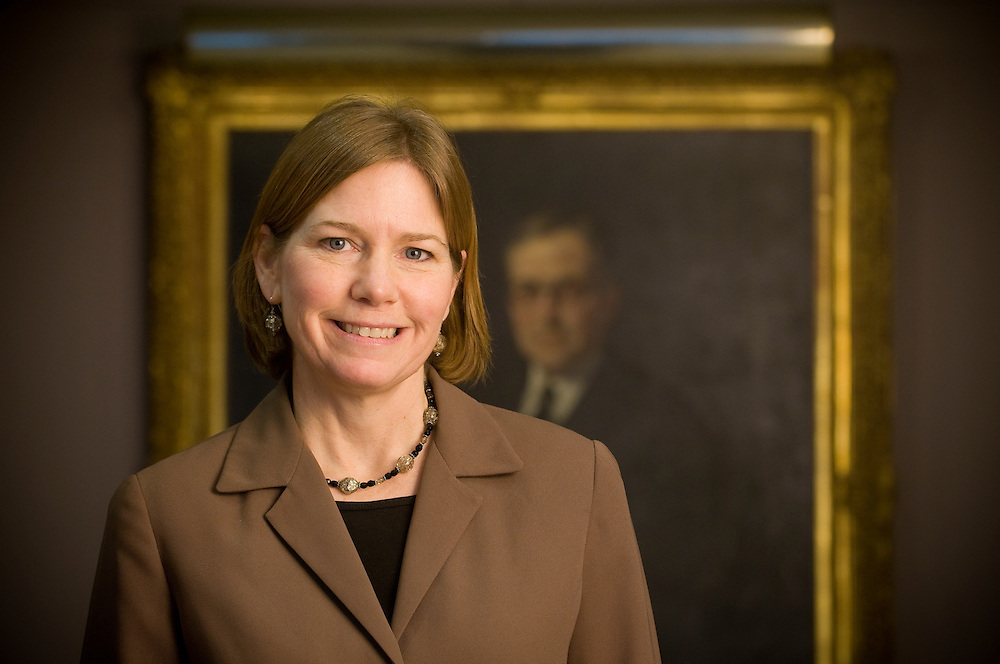 Suzanne Hanselman is the the Cleveland Business Group Chair at Baker Hostetler and she is standing in front of a portrait of Newton D. Baker, the founding partner of the company. Traditionally being a male dominated profession law firms in Ohio are above the curve as compared to the national average when it comes to women in practice.