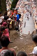 A horse that got over the mound at the annual Shinto Tado Horse Festival.