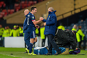 John McGinn (#8) of Scotland shakes hands with Scotland manager, Steve Clarke after he is substituted during the UEFA European 2020 Group I qualifier match between Scotland and Kazakhstan at Hampden Park, Glasgow, United Kingdom on 19 November 2019.