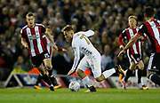 Samu Sáiz of Leeds United during the EFL Sky Bet Championship match between Leeds United and Sheffield Utd at Elland Road, Leeds, England on 27 October 2017. Photo by Paul Thompson.
