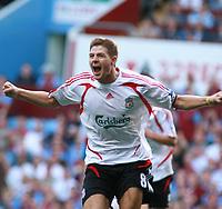 Photo: Mark Stephenson. <br /> Aston Villa v Liverpool. Barclays Premiership. 11/08/2007. <br /> Liverpool's Steven Gerrard celebrates his free kick goal