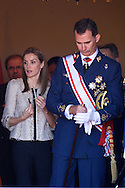 King Felipe VI of Spain and Queen Letizia of Spain visit the Air Force Basic Academy to attend the graduation ceremony on July 9, 2014 in Leon, Spain