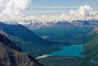 View of Kathleen Lake from Kings Throne Mountain, Kluane National Park Yukon Canada