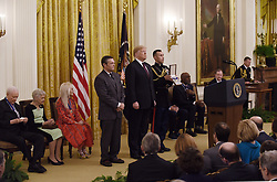 US President Donald Trump awards the Presidential Medal of Freedom to baseball legend Babe Ruth, his grandson Thomas Stevens accepting, at the White House in Washington, DC, on November 16, 2018. - The Medal is the highest civilian award of the United States. Photo by Olivier Douliery/ABACAPRESS.COM