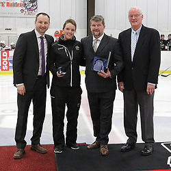 GEORGETOWN, ON  - APR 13,  2017: Ontario Junior Hockey League, Championship Series. Georgetown Raiders vs the Trenton Golden Hawks in Game 1 of the Buckland Cup Final. The 2017 OJHL Awards presentation held in a pre-game ceremony before game one of the Buckland Cup Championship Series, in Georgetown Ontario. Trainer-of-the-Year, Sarah Ditmars of the Trenton Golden Hawks.<br /> (Photo by Tim Bates / OJHL Images)