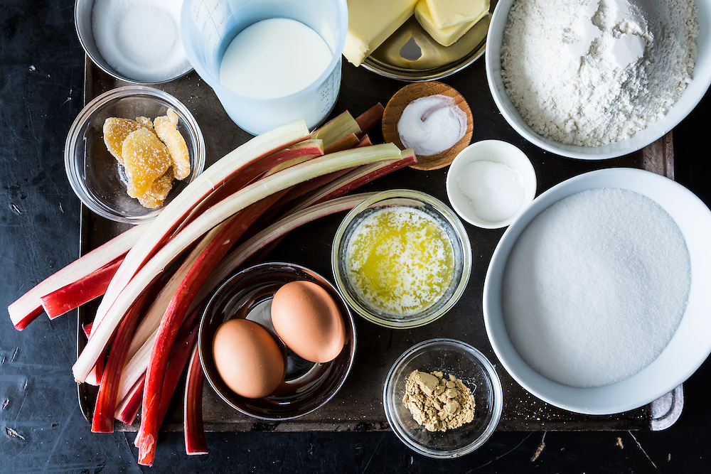 Ingredients for a Rhubarb Buckle