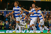 Queens Park Rangers defender Lee Wallace (3) and other Queens Park Rangers players celebrate after their successful penalty shoot-out during the EFL Cup match between Queens Park Rangers and Bristol City at the Kiyan Prince Foundation Stadium, London, England on 13 August 2019.