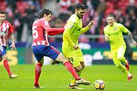Atletico de Madrid's Stefan Savic (l) and Getafe CF's Jorge Molina during La Liga match. January 6,2018. (ALTERPHOTOS/Acero)