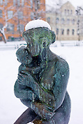 Bronze statue of madonna and child in Tromsoya, Tromso,  Arctic Circle in Northern Norway