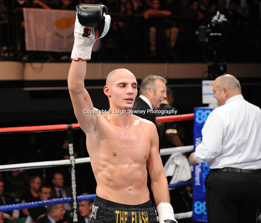 Chris Evangelou defeats Joel Ryan in a 6x3min Light Welterweight contest at York Hall 09.11.11. Matchroom Sport. Photo credit: © Leigh Dawney 2011.