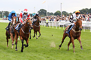 BIG LES (10) ridden by Jamie Gormley and trained by Karen McLintock winning The Coopers Marquees Handicap Stakes over 6f (£15,000)  during the Newby and the Press Family Raceday at York Racecourse, York, United Kingdom on 9 September 2018. Picture by Mick Atkins.