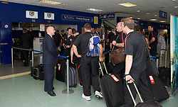 CARDIFF, WALES - Wednesday, September 1, 2010: Wales' players check-in for their flight at Cardiff Airport before the squad heads out to Podgorica ahead of the opening UEFA Euro 2012 Qualifying Group 4 match against Montenegro. (Pic by David Rawcliffe/Propaganda)