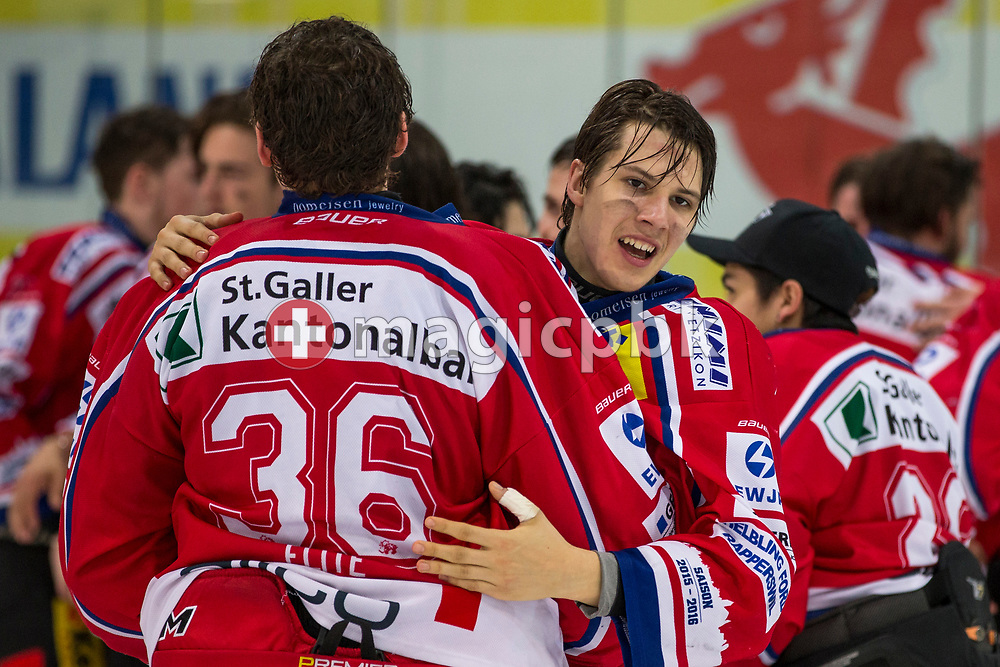 (L-R) Rapperswil-Jona Lakers goaltender Beat Trudel and Lars Mathis celebrate their Swiss Champion title after winning the fifth Elite B Playoff Final ice hockey game between Rapperswil-Jona Lakers and ZSC Lions held at the SGKB Arena in Rapperswil, Switzerland, Sunday, Mar. 19, 2017. (Photo by Patrick B. Kraemer / MAGICPBK)
