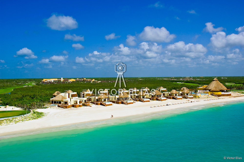 Aerial view from the ocean of the Fairmont Mayakoba hotel in the Riviera Maya.