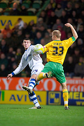 NORWICH, WALES - Saturday, November 14, 2009: Tranmere Rovers' Terry Gornell goes in for the challenge with Norwich City's Jens Berthel Askou during the League One match at Carrow Road. (Pic by David Rawcliffe/Propaganda)