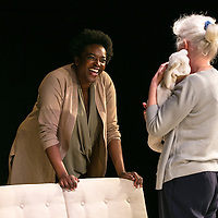 Cyprus Avenue by David Ireland;<br /> Directed by Vicky Featherstone;<br /> Julia Dearden as Bernie;<br /> Wunmi Mosaku as Bridget;<br /> Jerwood Theatre Upstairs;<br /> Royal Court Theatre, London, UK;<br /> 5 April 2016