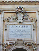 Latin inscription detail from the entrance/courtyard to the Capitolini museums, in Rome, Italy. The museums themselves are contained within 3 palazzi as per designs by Michelangelo Buonarroti in 1536, they were then built over a 400 year period.