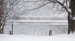 Saturday, Jan. 22, 2016: West Virginia University signs are seen on campus in Morgantown, W.Va. after Winter Storm Jonas ripped through North Central West Virginia and dumped nearly 18 inches of snow. (Photo by Ben Queen)
