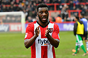 Troy Archibald-Henville (5) of Exeter City applauds, claps the fns at full time after a 3-1 win over Swindon during the EFL Sky Bet League 2 match between Exeter City and Swindon Town at St James' Park, Exeter, England on 24 March 2018. Picture by Graham Hunt.