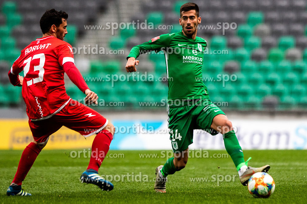 Jurcevic Mario of NK Olimpija Ljubljana vs Hrovat Mario Lucas of NK Aluminij during football match between NK Olimpija Ljubljana and NK Aluminij in Round #27 of Prva liga Telekom Slovenije 2018/19, on April 14th, 2019 in Stadium Stozice, Slovenia Photo by Matic Ritonja / Sportida