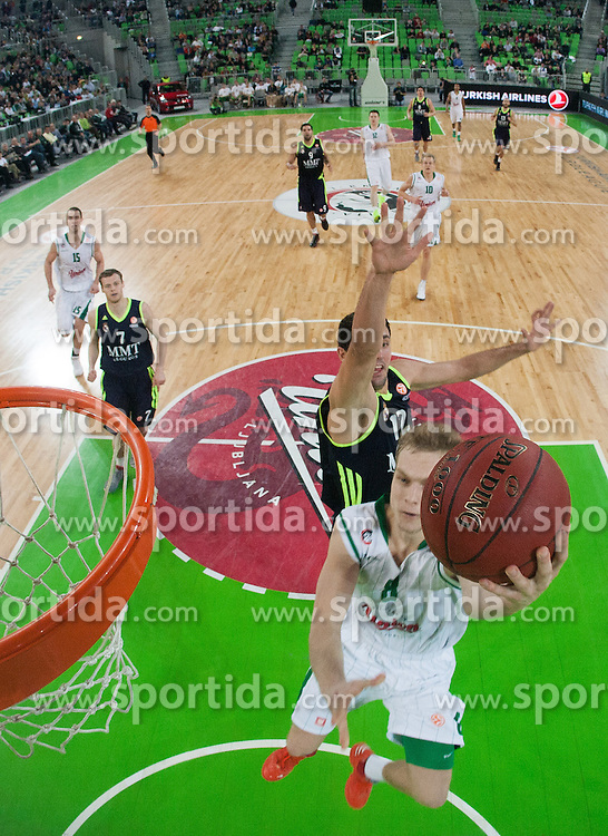 Jaka Blazic #8 of Union Olimpija during basketball match between KK Union Olimpija and Real Madrid (ESP) in 5th Round of Regular season of Euroleague 2012/13 on November 9, 2012 in Arena Stozice, Ljubljana, Slovenia. Real Madrid defeated Union Olimpija 89-76. (Photo By Vid Ponikvar / Sportida)