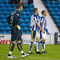 Kilmarnock v St Johnstone.....24.10.09<br /> Frazer Wright (centre) after conceding a late own goal<br /> Picture by Graeme Hart.<br /> Copyright Perthshire Picture Agency<br /> Tel: 01738 623350  Mobile: 07990 594431