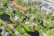 Nederland, Noord-Holland, Amsterdam, 09-04-2014; Amsterdam-Zuid,  Vondelpark met tennisbanen, Muziektent en het Blauwe Theehuis .<br /> Vondel park, Amsterdam South.<br /> luchtfoto (toeslag op standard tarieven);<br /> aerial photo (additional fee required);<br /> copyright foto/photo Siebe Swart