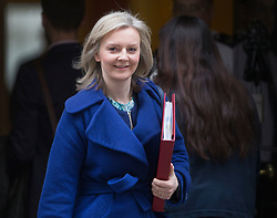 © Licensed to London News Pictures. 09/02/2016. London, UK.  Liz Truss, Secretary of State for Environment, Food and Rural Affairs, leaves number 10 Downing Street after attending a cabinet meeting. Photo credit: Peter Macdiarmid/LNP