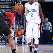 Delaware 87ers Guard Chaz Williams (2) dribbles the ball down court in the first half of a NBA D-league regular season basketball game between the Delaware 87ers and the Erie BayHawk (Orlando Magic) Friday, Mar. 27, 2015 at The Bob Carpenter Sports Convocation Center in Newark, DEL.