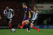 Kyle Storer and Craig Disley during the Vanarama National League match between Grimsby Town FC and Cheltenham Town at Blundell Park, Grimsby, United Kingdom on 30 October 2015. Photo by Antony Thompson.