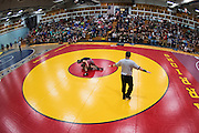 Two wrestlers battle on the mat during the Baker Classic wrestling tournament at Essex High School on Friday night January 13, 2017 in Essex. (BRIAN JENKINS/for the FREE PRESS)