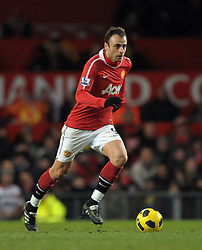 Dimitar Berbatov in action during the Barclays Premier League match between Manchester United and Blackburn Rovers at Old Trafford on November 27, 2010 in Manchester, England.